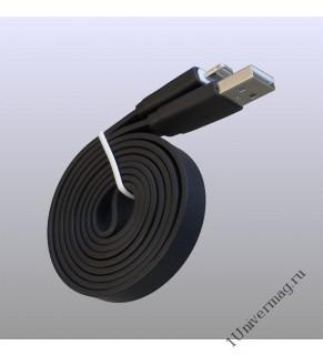 USB кабель Pro Legend плоский Iphone 5, 6s, 8 pin, 1м,  чёрный