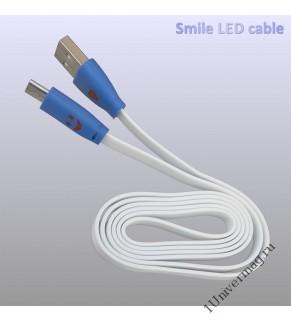 USB кабель Pro Legend светящийся  micro USB,  белый, 1м