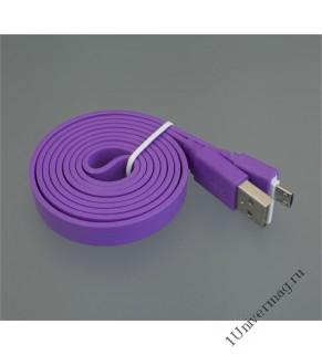 USB кабель Pro Legend плоский micro USB, 1м,  фиолетовый