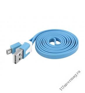 USB кабель Pro Legend плоский micro USB, 1м,  голубой