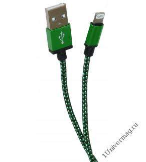 USB кабель Pro Legend Iphone 5, 6s, 8 pin, текстиль, зеленый, 1м