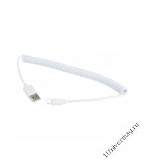 USB кабель Pro Legend micro USB, спиральный, белый, 1.5м