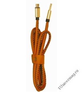 USB кабель Pro Legend micro USB, кожанный, коричневый, 1м