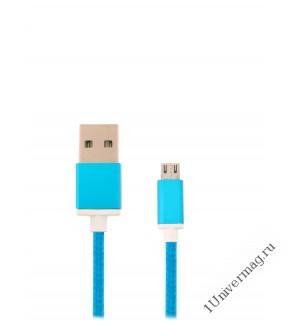 USB кабель Pro Legend micro USB, текстиль, голубой, 1м