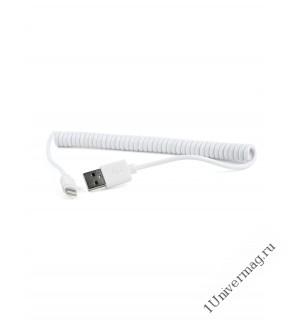 USB кабель Pro Legend Iphone 8 pin, спиральный, белый, 1.5м