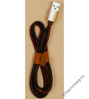 USB кабель Pro Legend Iphone 8 pin, кожанный, черный, 1м