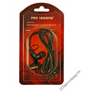 Наушники с микрофоном Pro Legend вставные (затычки), закрытые,  микр. каб. 1м. разъем 3,5мм черные