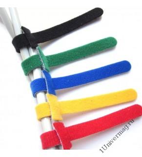 Хомут-липучка (стяжка) 230мм х 13мм 5 шт / 5 цветов / черный, синий, красный, желтый, зеленый