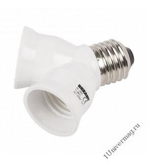 Разветвитель цокольный  Е27-2хЕ27 белый REXANT