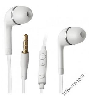 Наушники с микрофоном Pro Legend вставные (затычки), закрытые,  микр. каб. 1м. разъем 3,5мм белые