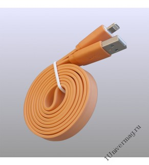 USB кабель Pro Legend плоский Iphone 5, 6s, 8 pin, 1м,  оранжевый