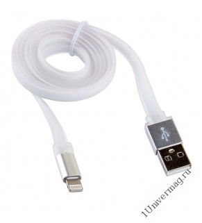 USB кабель Pro Legend плоский Iphone 5, 6s, 8 pin, 1м,  белый