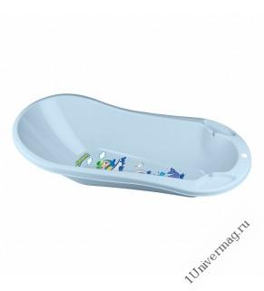 Ванна детская с клапаном для слива воды и аппликацией (светло-голубой)