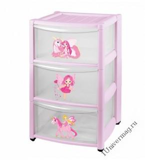 Комод детский на колесах 3 ящика (розовый)