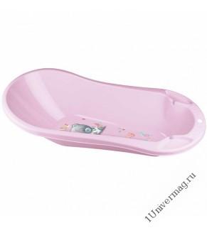 """Ванна детская с клапаном для слива воды и аппликацией """"Me to you"""" (розовый)"""