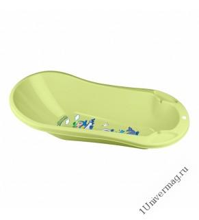 Ванна детская с клапаном для слива воды и аппликацией (салатовый)