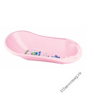 Ванна детская с клапаном для слива воды и аппликацией (светло-розовый)