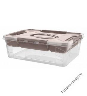 """Ящик универсальный с замками и вставкой- органайзером """"Grand box"""", 390х290х124мм, 10л (коричневый)"""