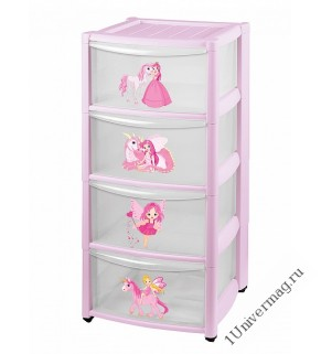Комод детский на колесах 4 ящика (розовый)