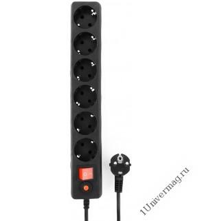 Удлинитель сетевой с фильтром Гарнизон EHB-10 3.0 м 6р черный.