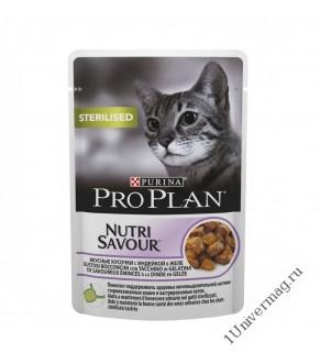 Purina Pro Plan индейка в желе для стерилизованных кошек, Sterilised, 85гр