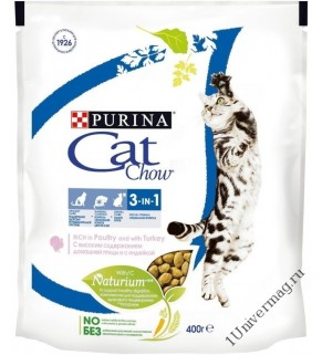 КЭТ ЧАУ спешкэафелин 3 в 1 для взрослых кошек, 400гр