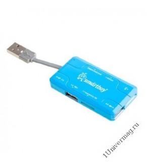 USB картридер универсальный, синий (SD, SDHC, RS MMC, Micro SD, M2, MS PRO Duo, Mini sd до 64)
