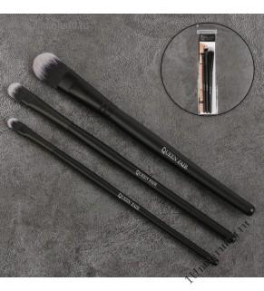 Набор кистей для макияжа 3пр PREMIUM Базовый для кремовых текстур нейлон чёрн мат PVC QF
