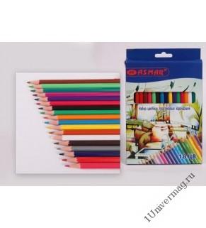 Набор карандашей с ластиком 12 цв
