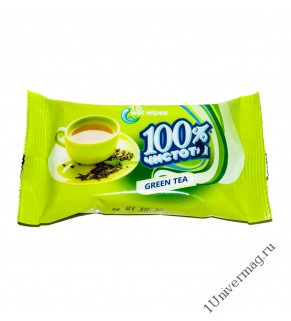 """Влажные  Салфетки """"Зелёный Чай"""" 100% ЧИСТОТЫ, 15шт"""