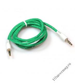 Кабель соединительный Pro Legend, 3.5 Jack (M)  - 3.5 Jack (M) текстильная оплетка, зеленый, 1м.