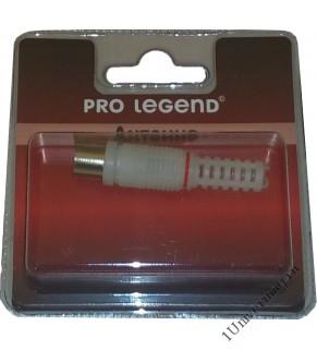 Антенный штекер пластиковый, вилка, прямой, белый, Pro Legend
