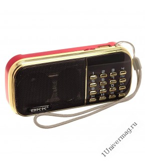 Радиоприемник BKK-835 (USB/TF/FM, AUX,часы) + 2 аккум 18650