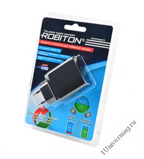 ROBITON QuickCharger3.0 + MicroUSB, Сетевой адаптер 1м