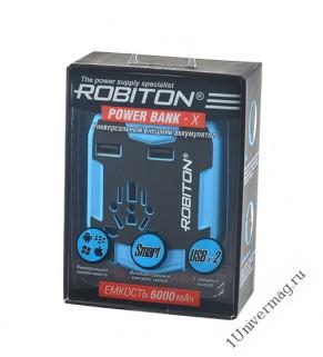 ROBITON Power Bank-X 6000мАч, 2 USB-разъема, Универсальный сетевой переходник со встроенным аккумуля