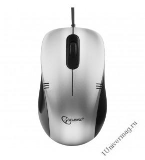 Мышь Gembird MOP-100-S, USB, серебристый, 2 кнопки+колесо кнопка, 1000 DPI, кабель 1.45м