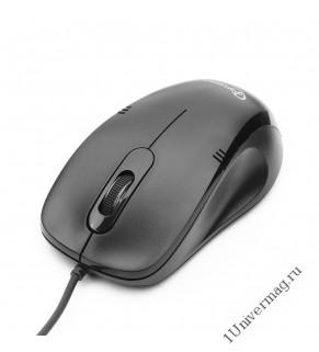 Мышь Gembird MOP-100, USB, черный, 2 кнопки+колесо кнопка, 1000 DPI, кабель 1.45м