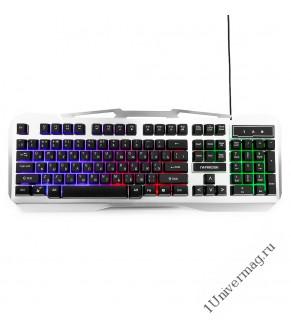 Клавиатура игровая Гарнизон GK-500G, металл, подсветка, USB, черный/серый, антифантомные клавиши