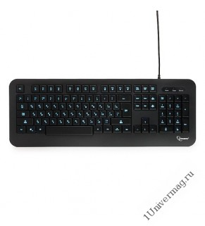 Клавиатура с подсветкой Gembird KB-230L, USB, черный, 104 клавиши, подсветка 3 цвета, кабель 1.45м
