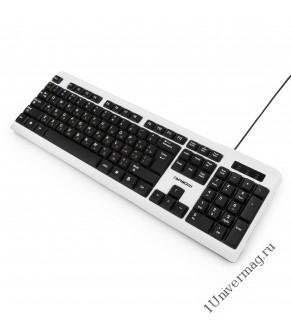 Клавиатура Гарнизон GK-110L, подсветка, USB, черный/белый