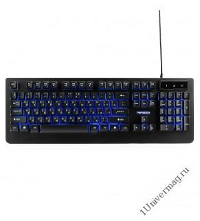 """Клавиатура игровая Гарнизон GK-310G, металл, синяя подсветка, код """"Survarium"""", USB, черный, антифант"""
