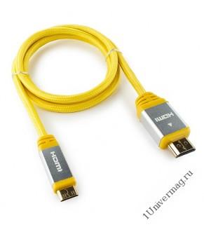 Кабель HDMI- miniHDMI Konoos KCP-HDMICny, 1м, v1.4, 19M/19M, алюмин. корпус, нейлоновая оплетка, жел