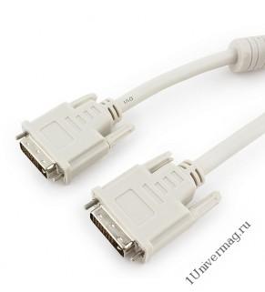 Кабель DVI-D single link Gembird/Cablexpert CC-DVI-6C, 19M/19M, 1.8м, серый, экран, феррит.кольца, п