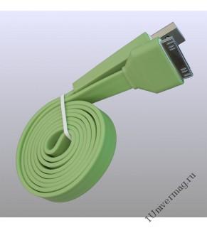 USB кабель Pro Legend плоский Iphone 4, 30 pin, 1м,  зеленый