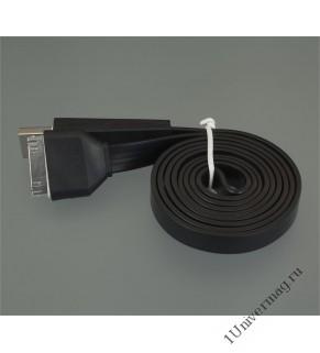 USB кабель Pro Legend плоский Iphone 4, 30 pin, 1м, чёрный