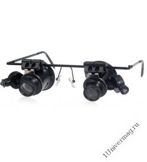 Лупа налобная 20x бинокулярная (очки) с подсветкой (2 LED) (PL4403)