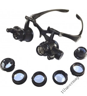 Лупа налобная 10x/15x/20x/25x (очки) с подсветкой (2 LED) (PL4417)