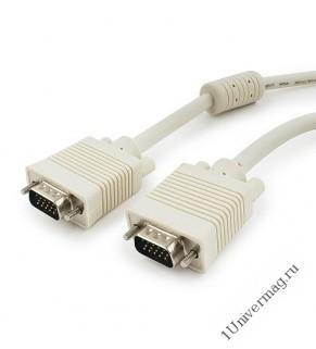 Кабель VGA Premium Cablexpert CC-PPVGA-15M, 15M/15M, 15м, тройной экран, феррит.кольца, пакет (20060