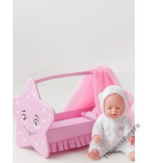 Игрушка детская: кроватка для кукол звездочка с постельным бельем и балдахином розовый