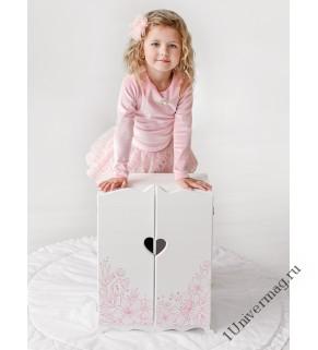"""Игрушка детская: шкаф с дизайнерским цветочным принтом (коллекция """"Diamond princess"""" белый)."""